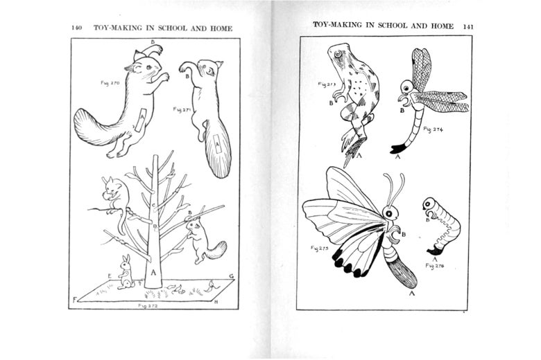 Diagrams on squirrels, insects, and nature from Toy-Making in School and Home (1916).