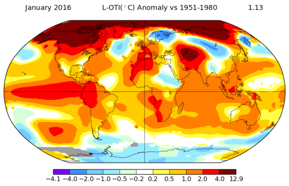 January 2016 was Earth's warmest month yet.