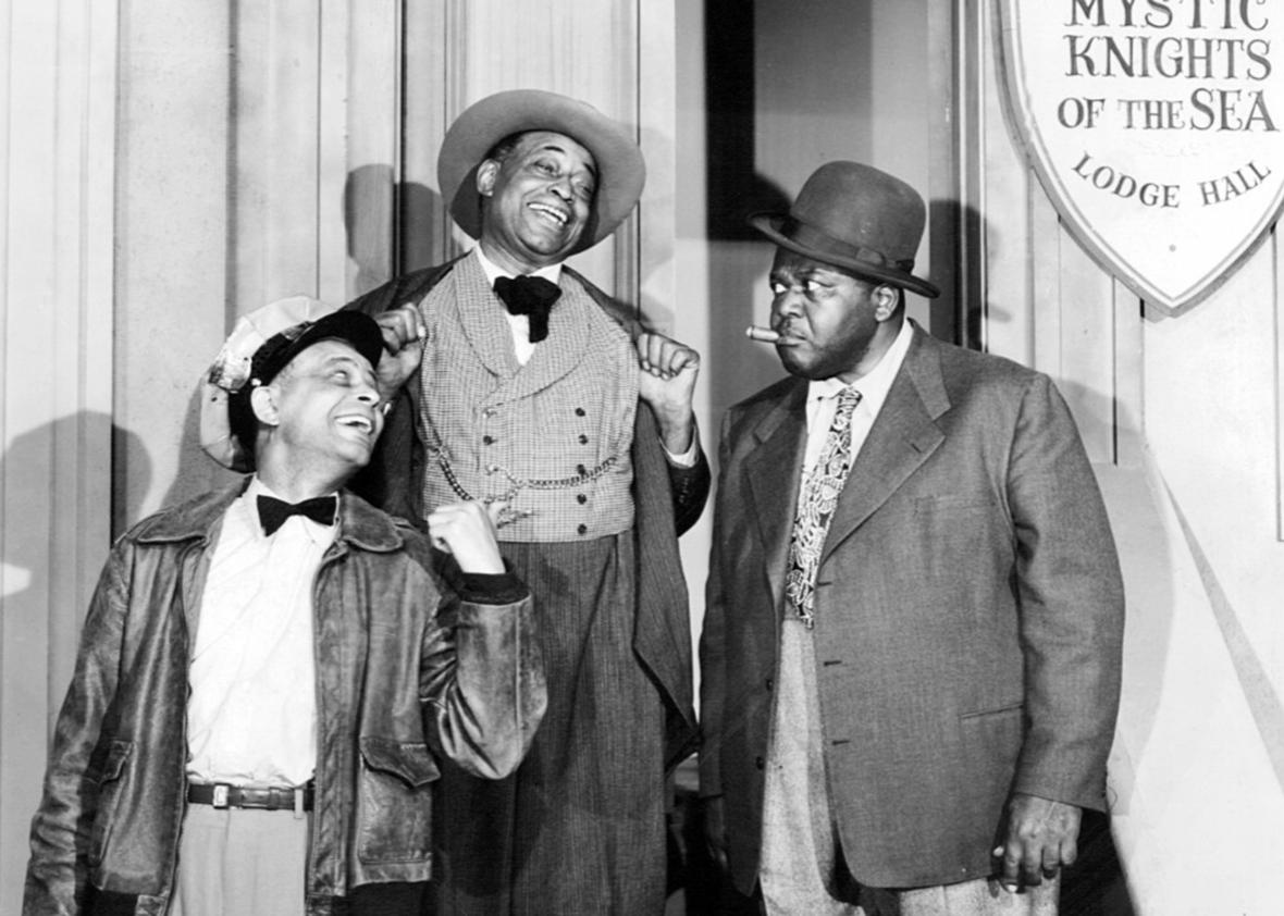 Photo of Alvin Childress, Tim Moore and Spencer Williams as Amos, Kingfish, and Andy from the television program Amos 'n' Andy 1952.
