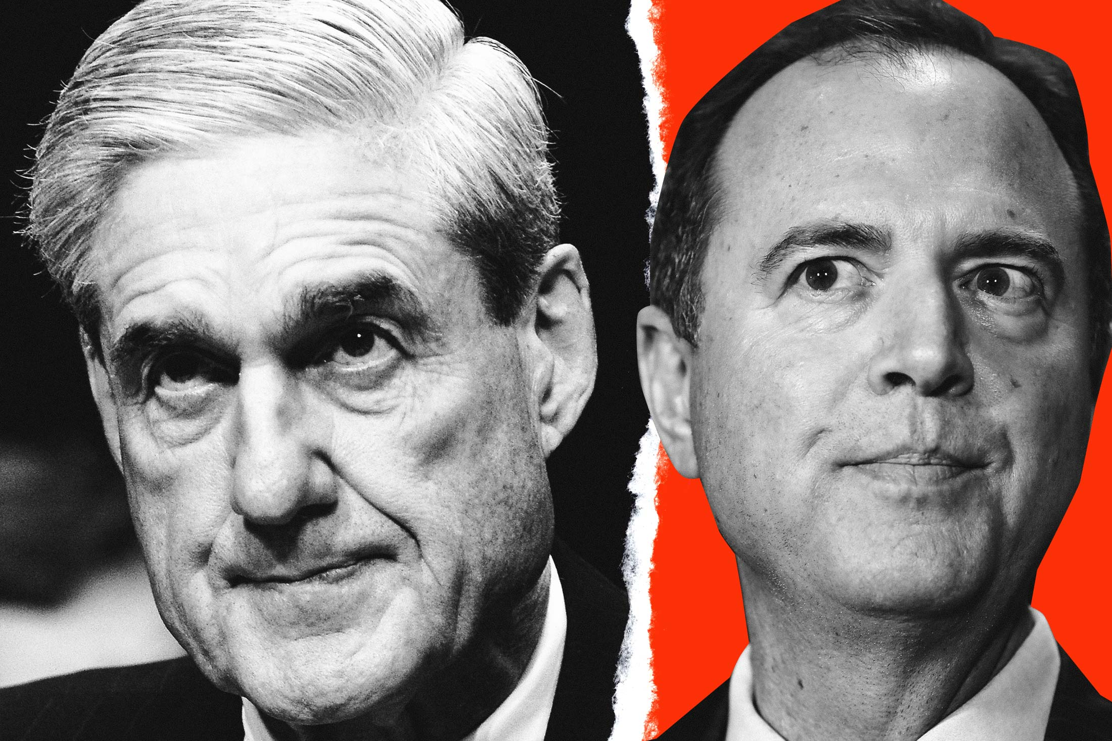 A collage featuring black-and-white photos of Robert Mueller and Adam Schiff.