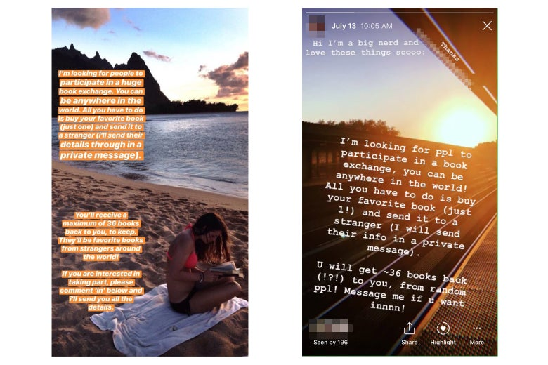 Two Instagram Stories screenshots about the book-sending challenge.