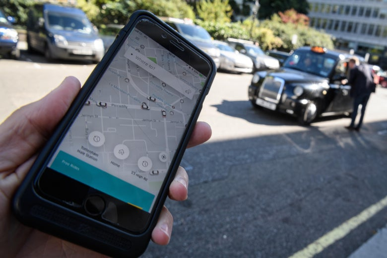 LONDON, ENGLAND - SEPTEMBER 22:  In this Photo Illustration, a phone displays the Uber ride-hailing app on September 22, 2017 in London, England. The Transport Regulator has announced that it will not re-new the company's licence to operate in London as it's current service is 'not fit and proper'.  (Photo by Leon Neal/Getty Images)