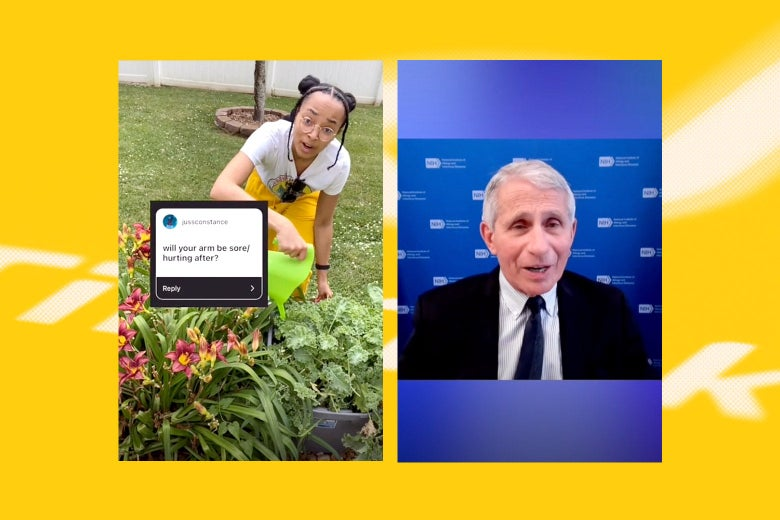 Screenshots from Tiktok of an influencer asking Fauci if your arm hurts after getting a COVID vaccine and Fauci responding