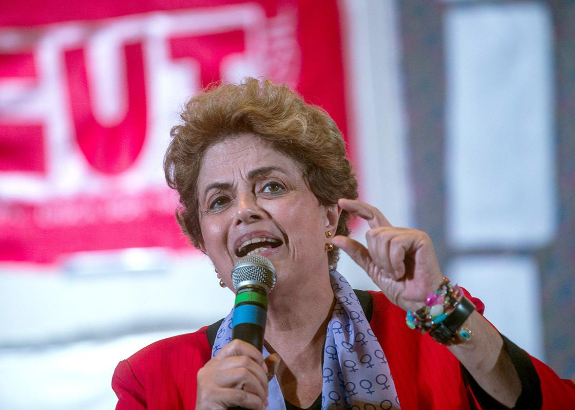Brazilian suspended President Dilma Rousseff participates in a rally of women in defense of democracy on July 8, 2016 in Sao Paulo, Brazil.