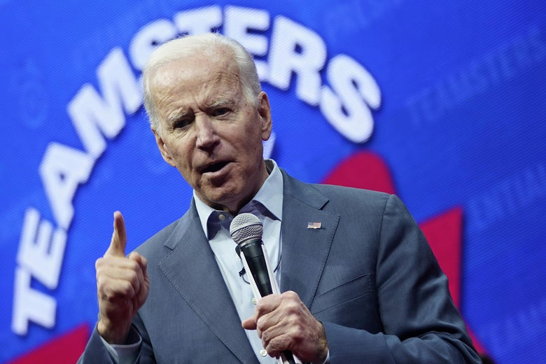 Biden speaks onstage at the Teamsters Vote 2020 Presidential Candidate Forum on Dec. 7 in Cedar Rapids, Iowa.