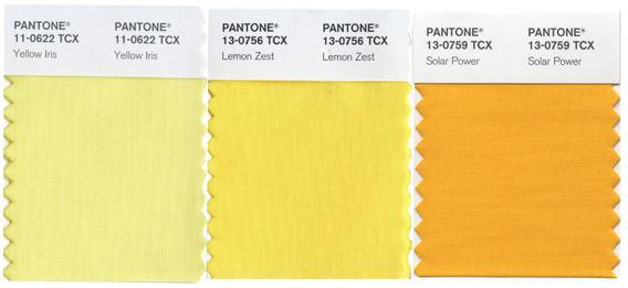 Pantone shades of yellow.