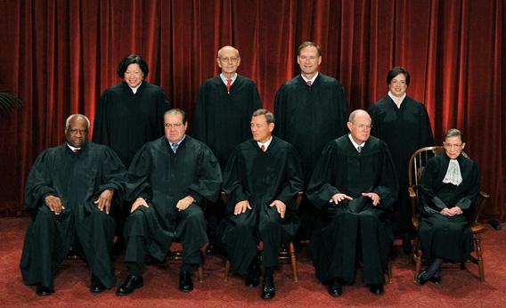 The Justices of the US Supreme Court sit for their official photograph in 2010.