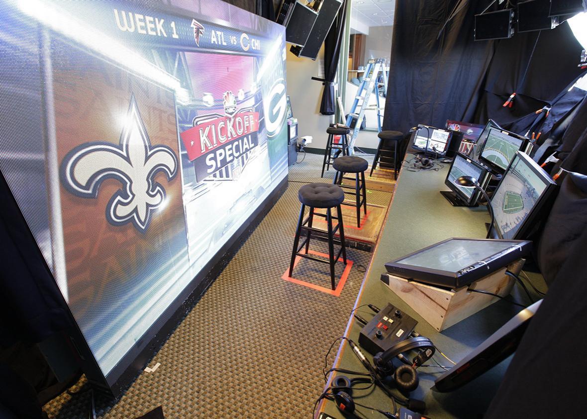 Sunday Night Football Broadcast Booth at Lambeau Field in Green