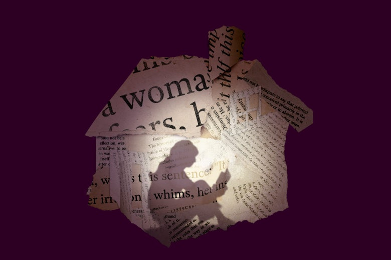 Illustration of book scraps making up the shape of a book, backlit, revealing a woman reading inside.