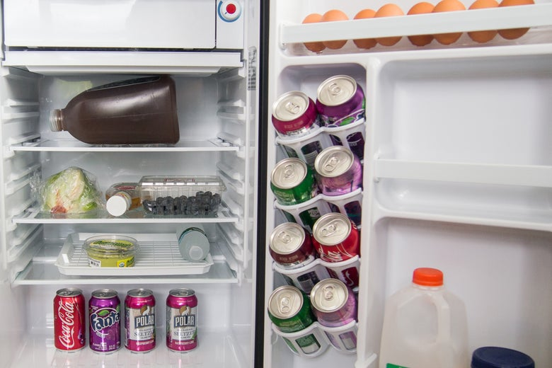 The interior of a mini fridge