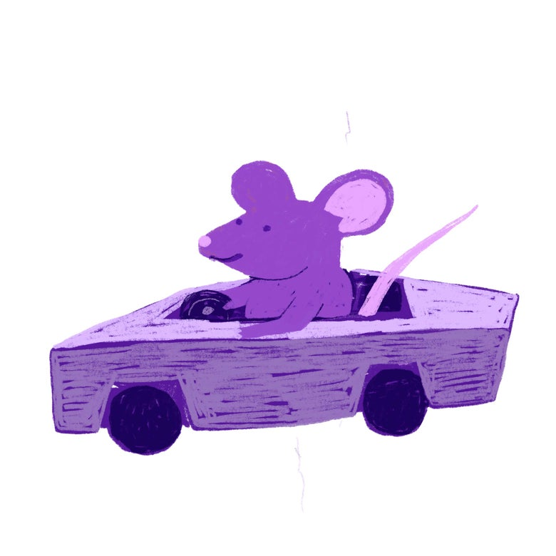 A purple rat drives a car.