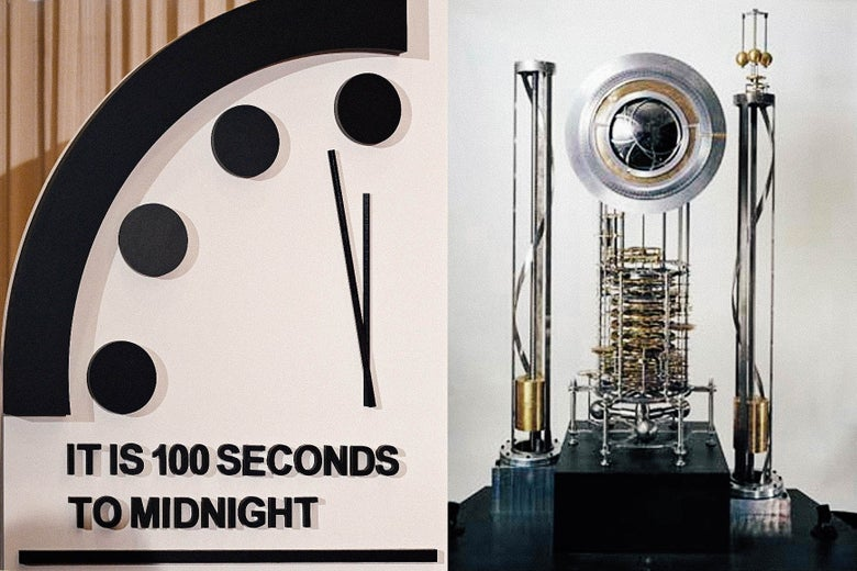 Diptych of the Doomsday Clock reading 100 seconds to midnight and the 10,000 Year Clock prototype.