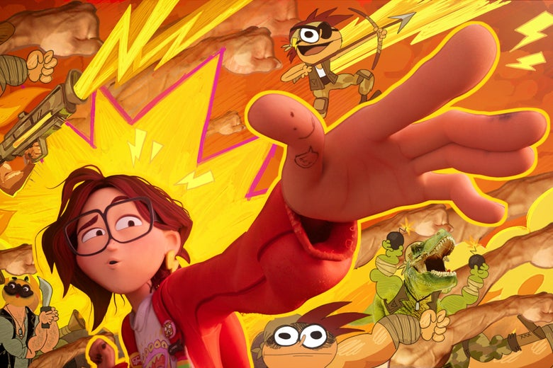 """I CG character dressed like an artsy young girl is surrounded by drawings of a pug with a knife and a T-rex with bombs. She extends one hand as if to say """"Far out."""""""