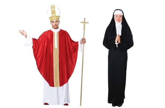 Couple dressed a pope and nun.