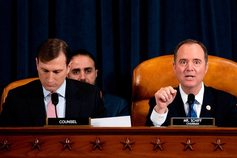 Goldman and Schiff, who is speaking, seated in the hearing room.