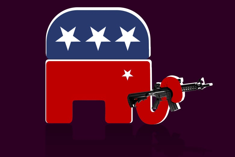 The GOP elephant holds a gun in its trunk.