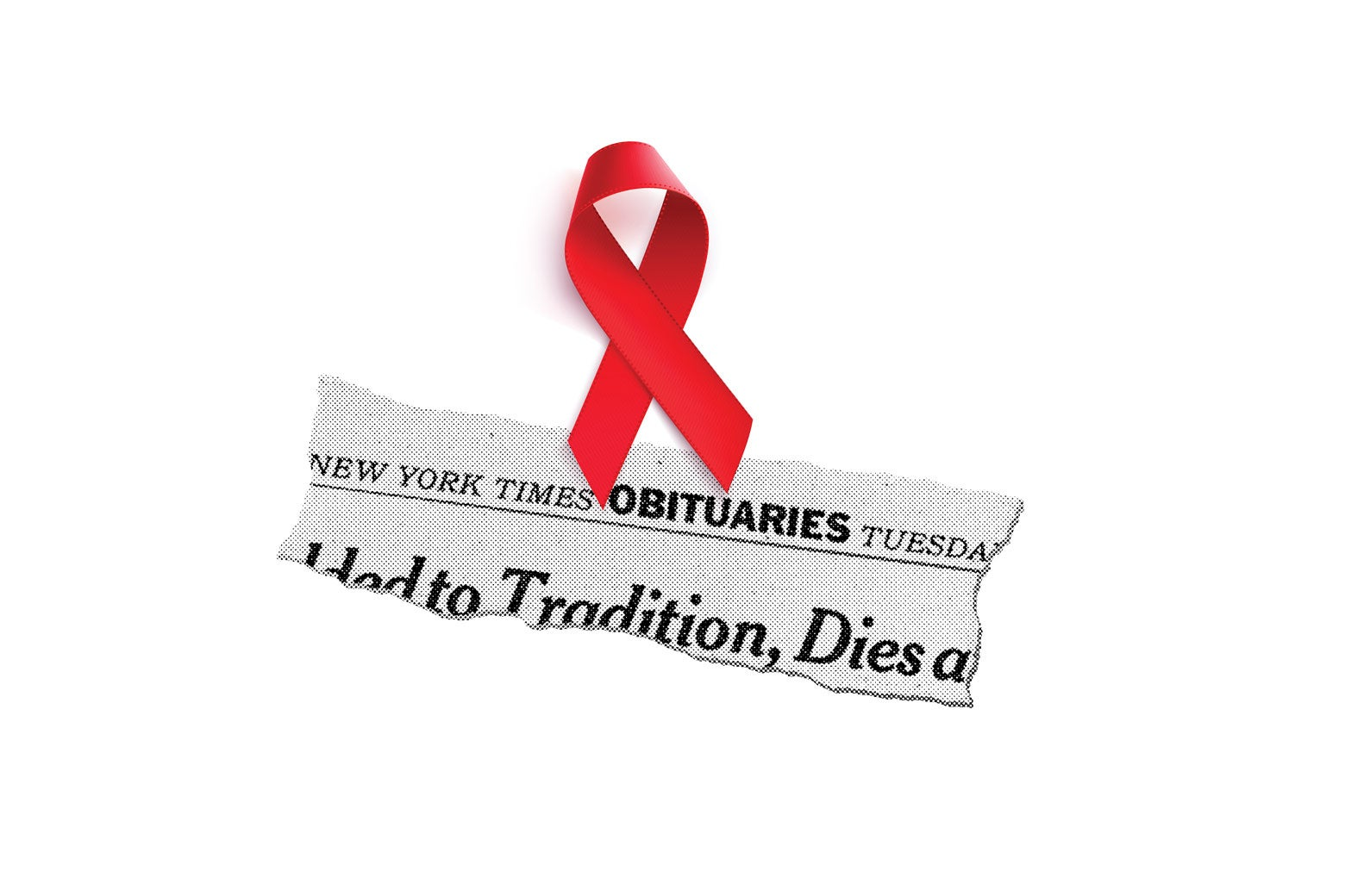 A red AIDS ribbon over a New York Times obit headline.