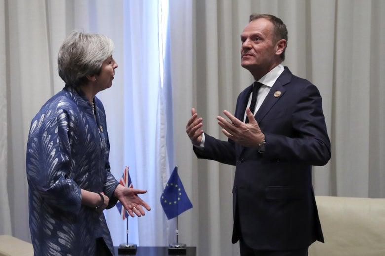 President of the European Council Donald Tusk speaks with British Prime Minister Theresa May during a bilateral meeting on February 24, 2019.