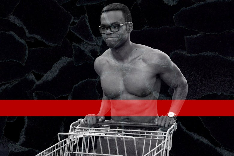 A shirtless William Jackson Harper in a scene from The Good Place.