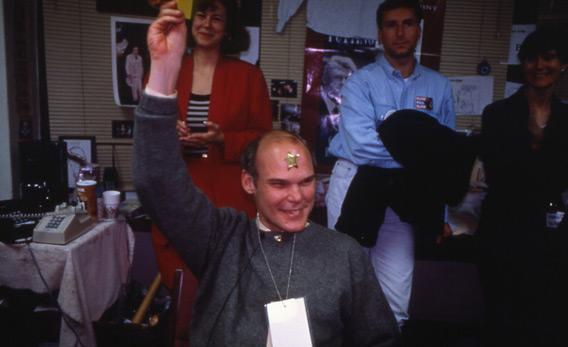 Still of James Carville from The War Room.