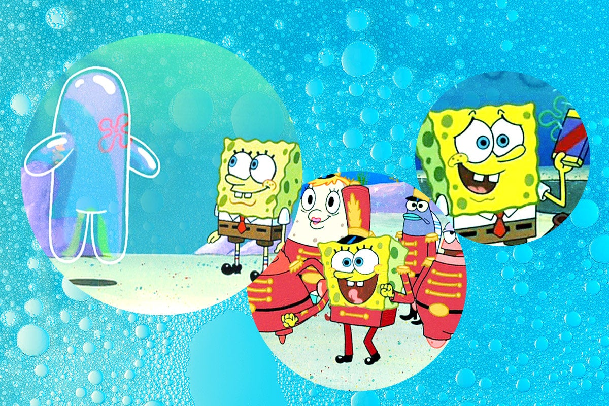 Various stills from episodes of SpongeBob Squarepants.