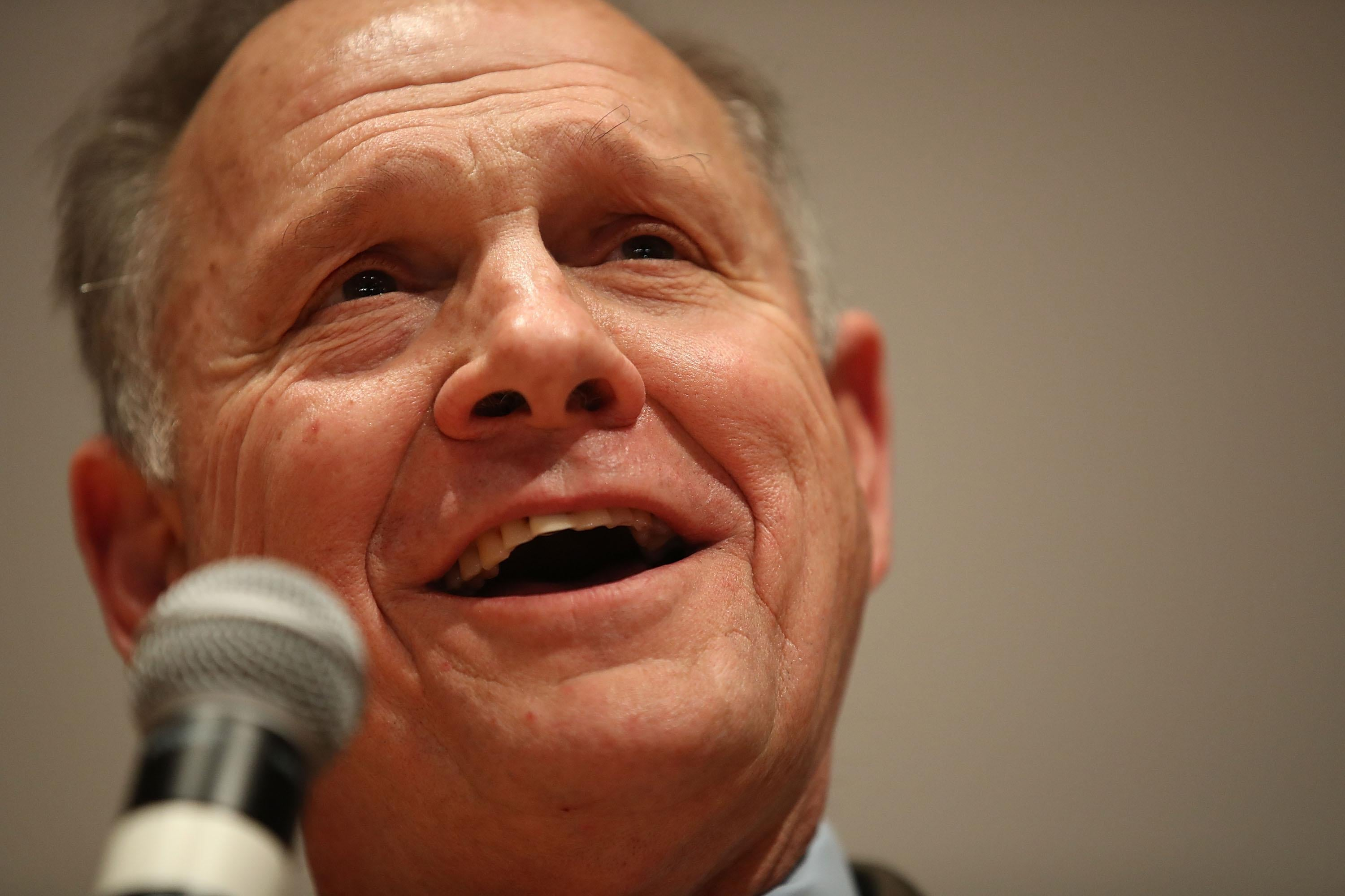 Republican Senatorial candidate Roy Moore speaks about the race against his Democratic opponent Doug Jones is too close and there will be a recount during his election night party in the RSA Activity Center on December 12, 2017 in Montgomery, Alabama. The candidates are running in a special election to replace Attorney General Jeff Sessions in the U.S. Senate.  (Photo by Joe Raedle/Getty Images)