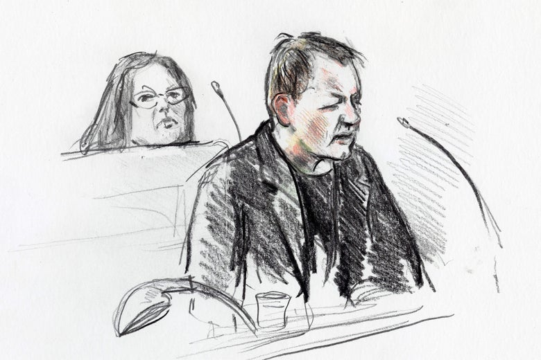 A courtroom drawing shows a man sitting and speaking into a microphone while a woman in glasses glares behind him.