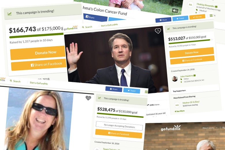 GoFundMe pages supporting Brett Kavanaugh and Christine Blasey Ford.