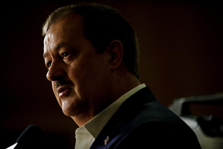 Don Blankenship is interviewed by media outlets following the closing of the polls May 8, 2018.