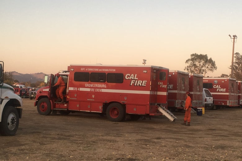 A truck at the Sonoma County Fairgrounds used to transport inmates fighting the Kincade Fire.