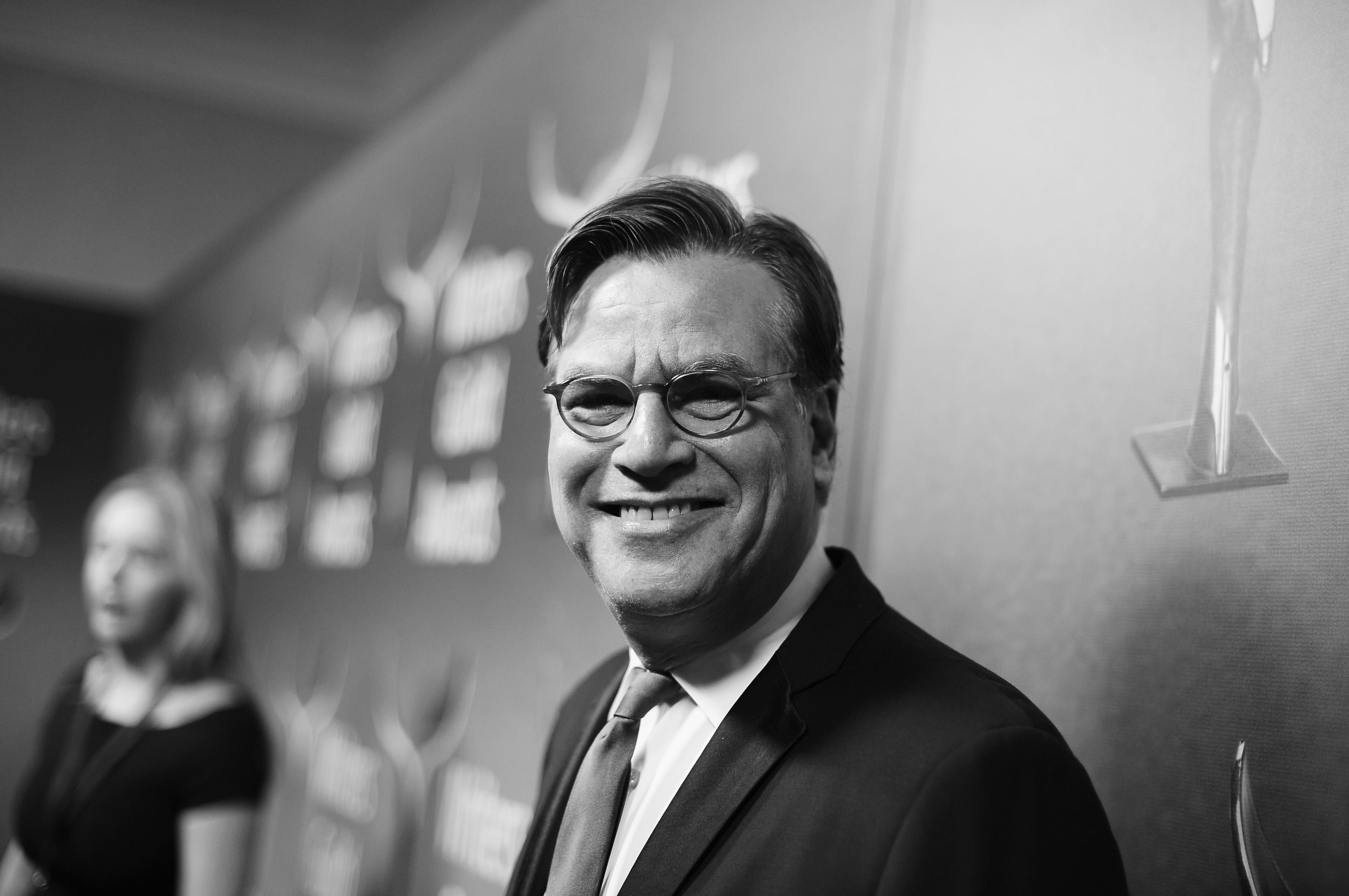 A black and white image. Writer-director Aaron Sorkin attends the 2018 Writers Guild Awards L.A. Ceremony at The Beverly Hilton Hotel on February 11, 2018 in Beverly Hills, California.