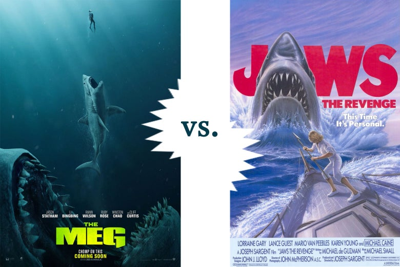 Posters for The Meg and Jaws: The Revenge set head-to-head.