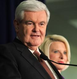 Newt Gingrich, with wife Callista by his side, speaks at a campaign stop at the University of West Georgia