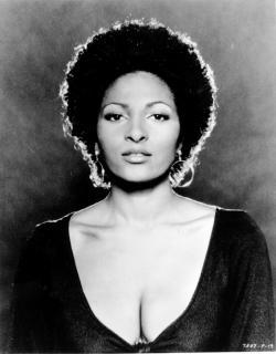 A 1974 photo of actress Pam Grier at an unknown location.
