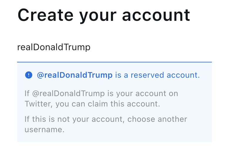 A GETTR notification saying Trump's handle is reserved.