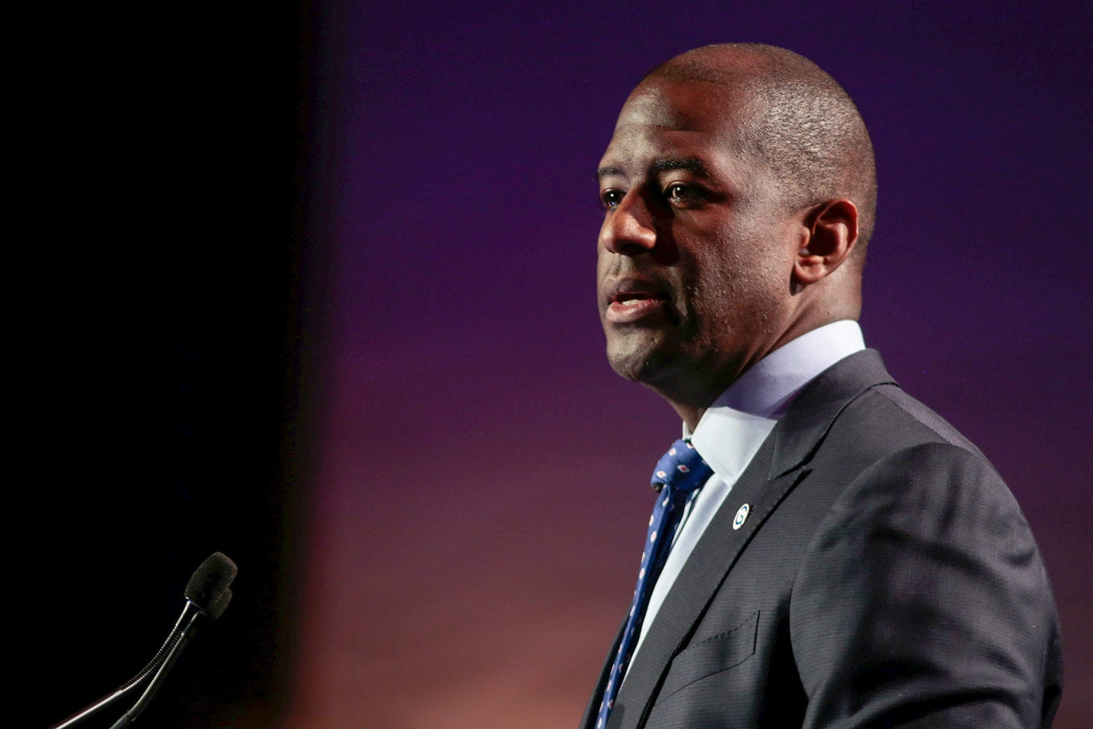 Andrew Gillum addresses the audience at he Netroots Nation annual conference for political progressives in Atlanta, Georgia on August 10, 2017.