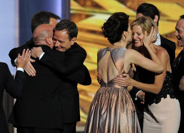 'Breaking Bad' cast members celebrate at the Emmy Awards.