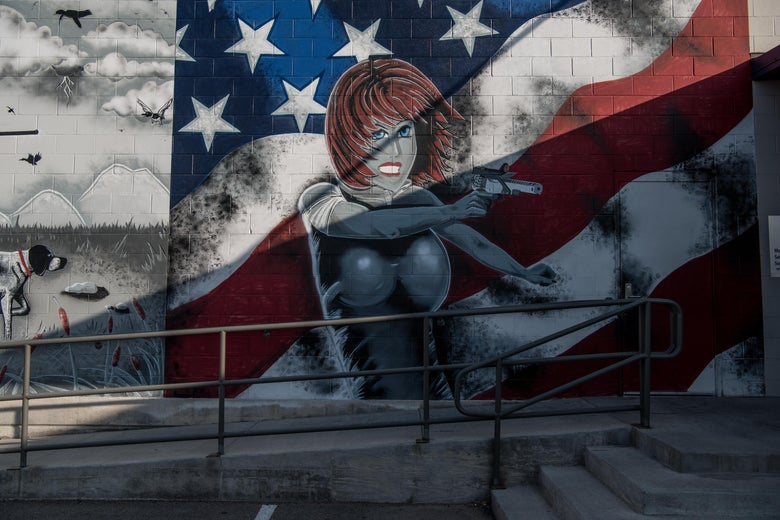 A mural on a wall outside a gun range following a deadly shooting spree on September 1, 2019 in Odessa, Texas.