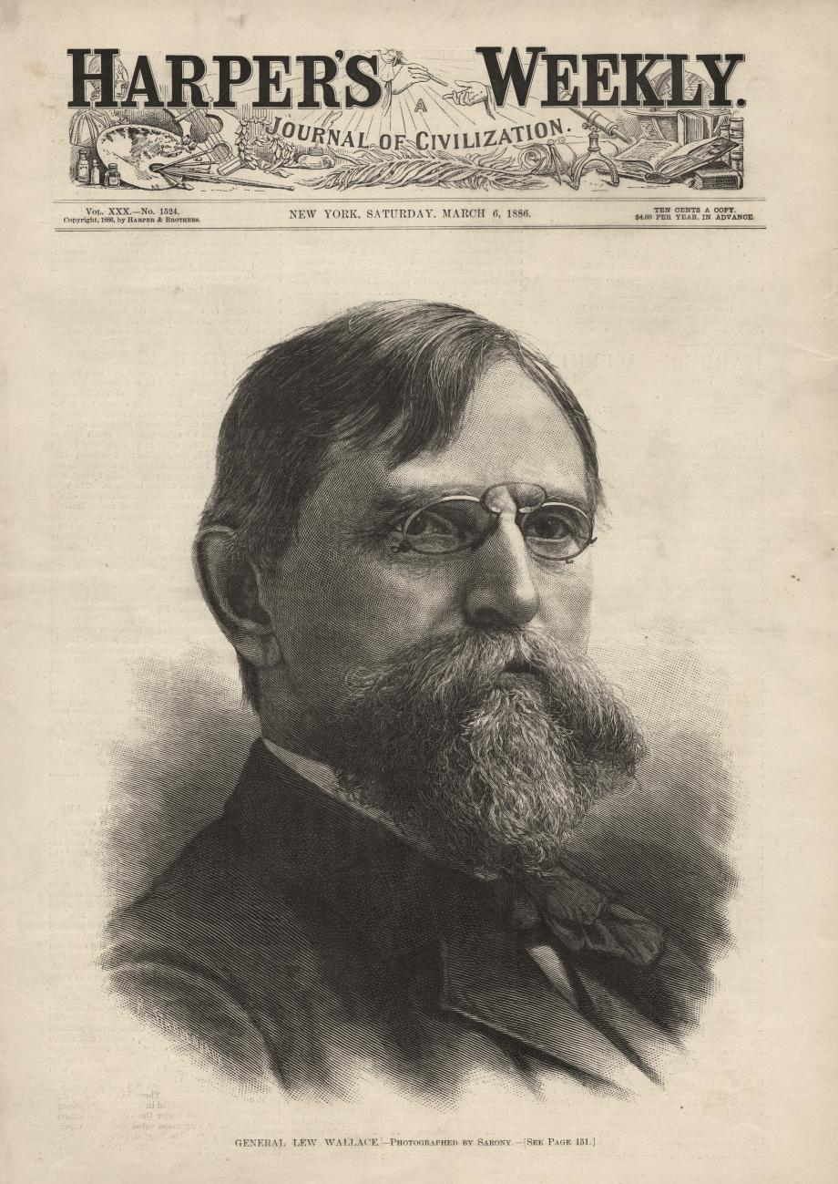 Lew Wallace on the cover of Harper's Weekly, 1886, after Ben-Hur had become a best-seller.