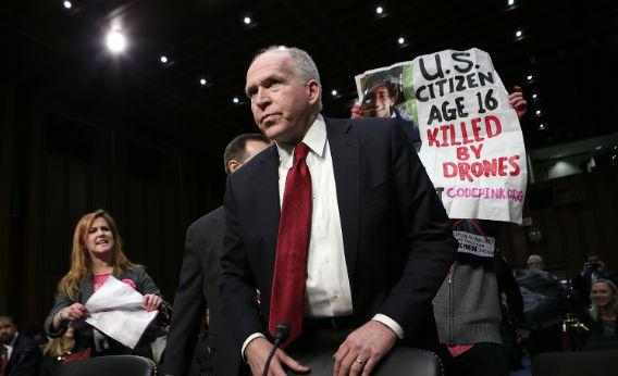 Anti-war protesters disrupt the start of a nomination hearing for U.S. Assistant to the President for Homeland Security and Counterterrorism John Brennan.