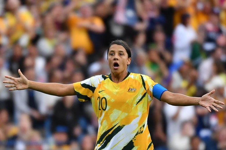 Australia's Sam Kerr reacts to a referee's call in the Women's World Cup.