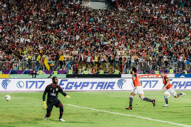Mohamed Salah celebrates his second goal during the World Cup Group E qualifying soccer match at the Borg El Arab Stadium in Alexandria, Egypt, on Oct. 8.