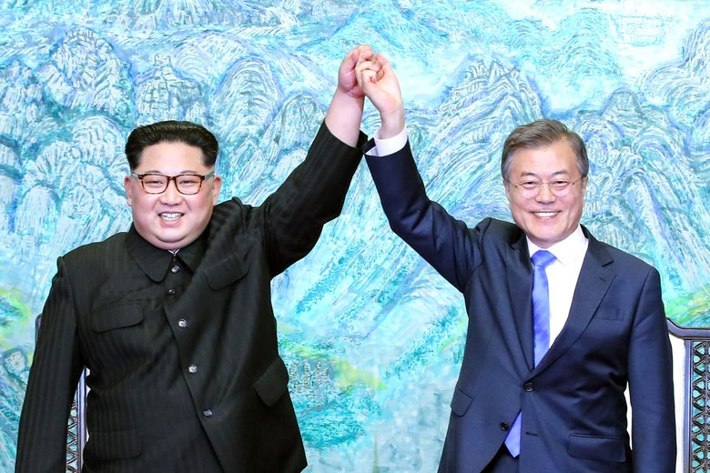 North Korean leader Kim Jong Un (L) and South Korean President Moon Jae-in (R) after signing the Panmunjom Declaration for Peace, Prosperity and Unification of the Korean Peninsula on April 27, 2018 in Panmunjom, South Korea.