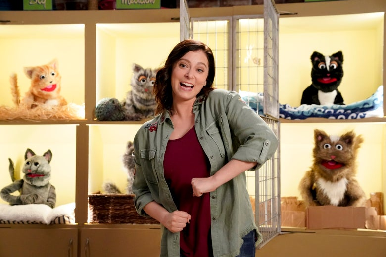 Rachel Bloom stands in front of a wall of kennels full of cartoonish cat puppets