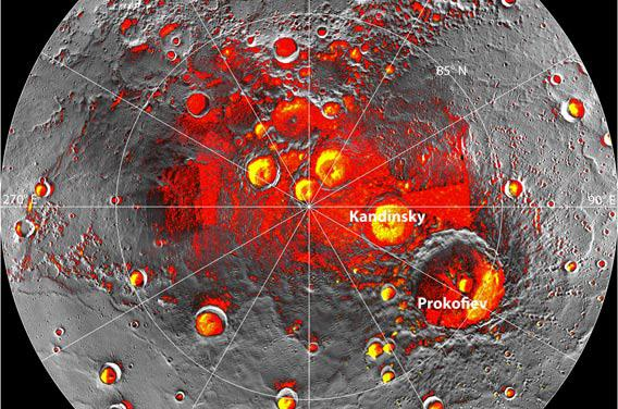 Locations of ice at Mercury's north pole.