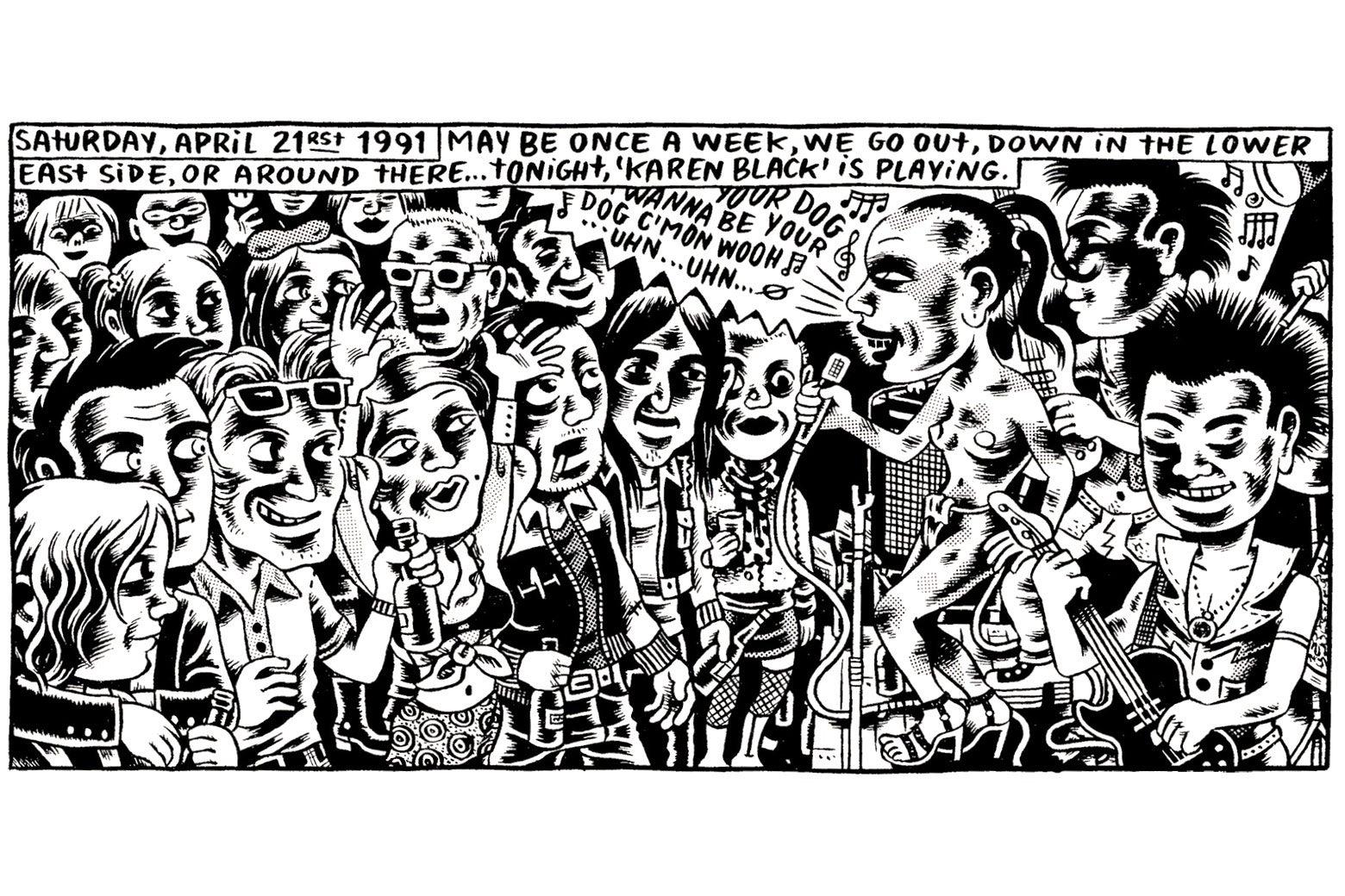 A crowd attends a punk show, featuring Karen Black.