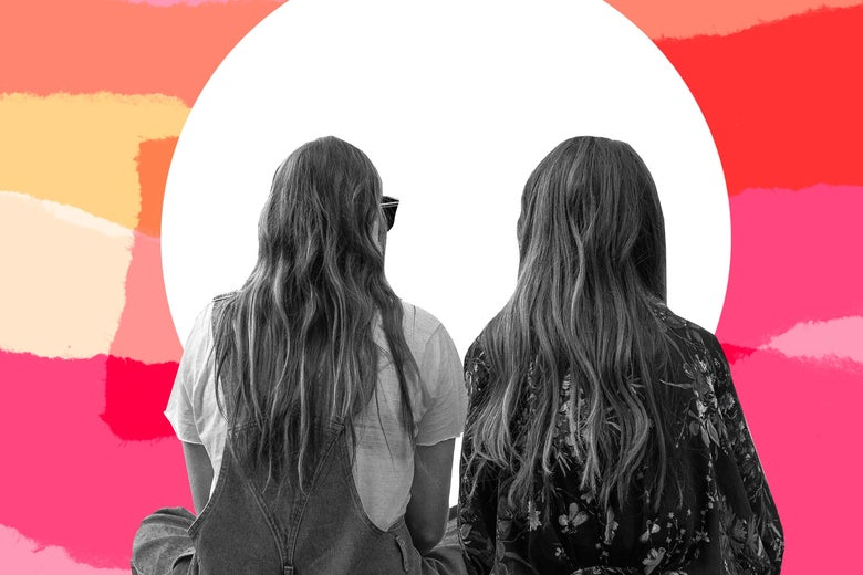 Photo illustration of two young women with their backs facing toward the camera.