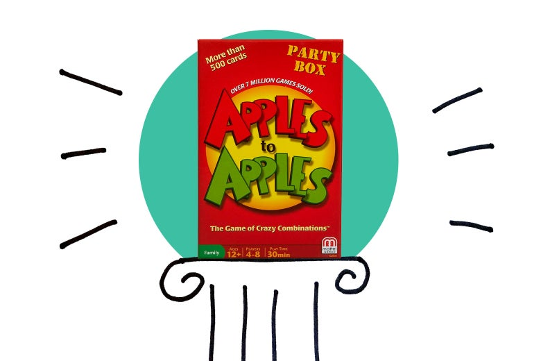 Apples to Apples on an illustrated pedestal