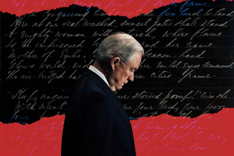 Photo illustration: Attorney General Jeff Sessions looking down against a background of written script.