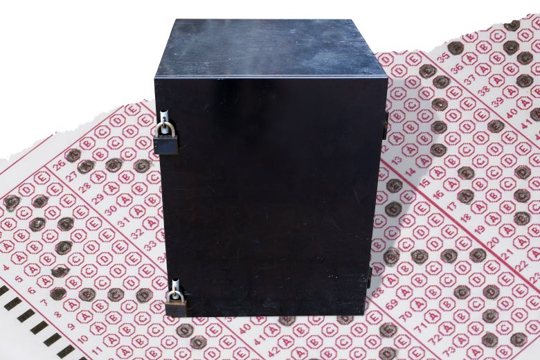 A locked black box sits atop a sheet of standardized test answer bubbles.